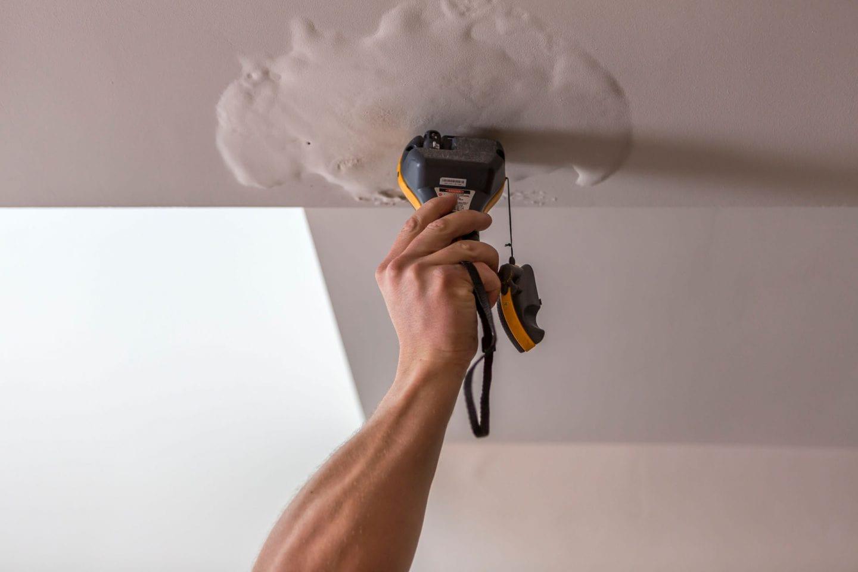 Ceiling leak detection techniques; moisture meter